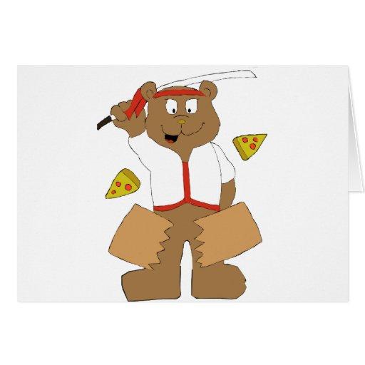 Cartoon Bear Slicing Pepperoni Pizza Greeting Card