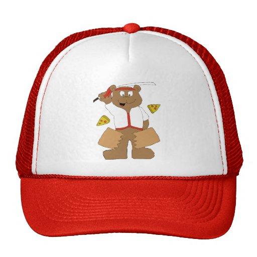 Cartoon Bear Slicing Pepperoni Pizza Hat