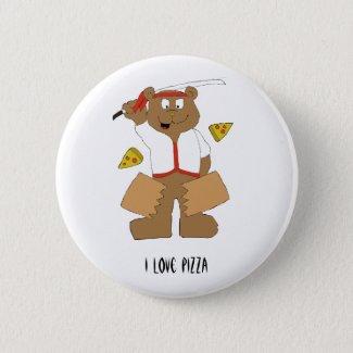 Cartoon Bear Slicing Pepperoni Pizza Pinback Button