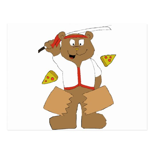 Cartoon Bear Slicing Pepperoni Pizza Postcard