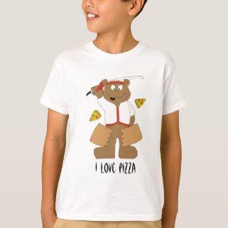 Cartoon Bear Slicing Pepperoni Pizza T-Shirt