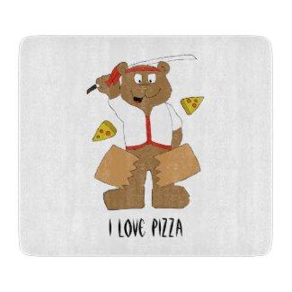 Cartoon Bear Slicing Pepperoni Pizza T-Shirt Cutting Board