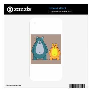 Cartoon bear vector skin for iPhone 4S