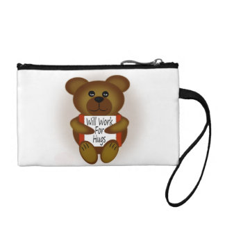 Cartoon Bear Will Work For Hugs Change Purse