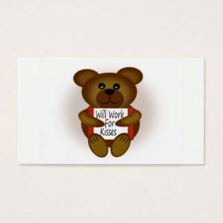 Cartoon Bear Will Work For Kisses Business Card