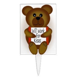 Cartoon Bear Will Work For Kisses Cake Topper