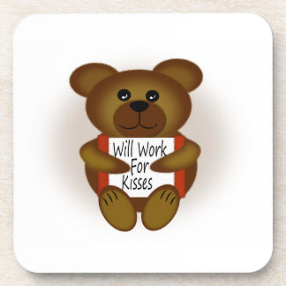 Cartoon Bear Will Work For Kisses Coaster
