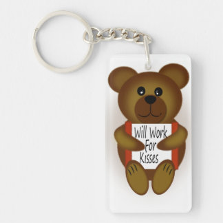 Cartoon Bear Will Work For Kisses Keychain