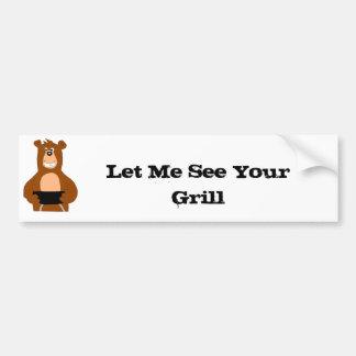 Cartoon Bear With BBQ Grill Bumper Stickers