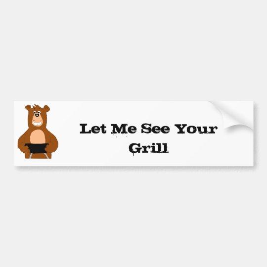 Cartoon Bear With BBQ Grill Bumper Sticker