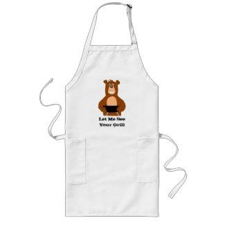 Cartoon Bear With BBQ Grill Long Apron