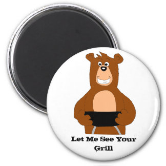 Cartoon Bear With BBQ Grill Magnet