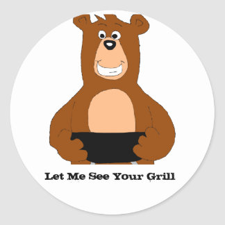 Cartoon Bear With BBQ Grill Classic Round Sticker