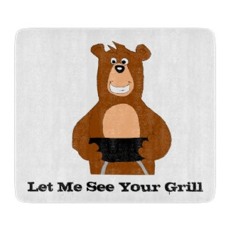 Cartoon Bear With BBQ Grill T-Shirt Cutting Board