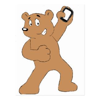 Cartoon Bear With Cell Phone Postcard