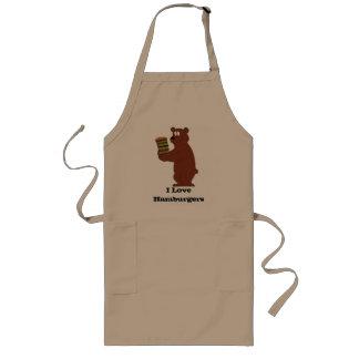 Cartoon Bear With Huge Hamburger Long Apron