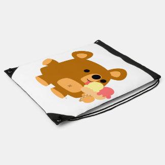 Cartoon Bear with Ice Cream Drawstring Backpack