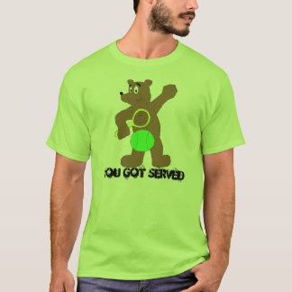 Cartoon Bear With Tennis Racket T-Shirt