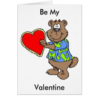 Cartoon Bear with Valentine Heart Card
