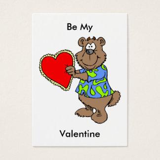 Cartoon Bear with Valentine Heart Mini Kids Cards