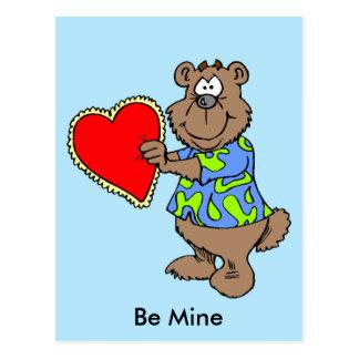 Cartoon Bear with Valentine Heart Postcard