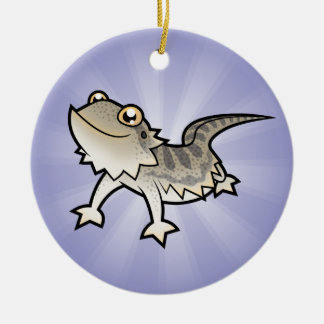 Cartoon Bearded Dragon / Rankin Dragon Double-Sided Ceramic Round Christmas Ornament