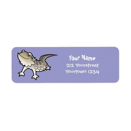 Cartoon Bearded Dragon / Rankin Dragon Return Address Label