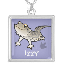 Cartoon Bearded Dragon / Rankin Dragon Silver Plated Necklace