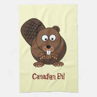 Cartoon Beaver American MoJo Kitchen Towels