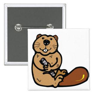 Cartoon Beaver for International Beaver Day Buttons