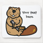 Cartoon Beaver for International Beaver Day Mouse Pads