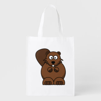 Cartoon Beaver Reusable Grocery Bag