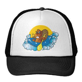 Cartoon Beaver River Rafting Hat