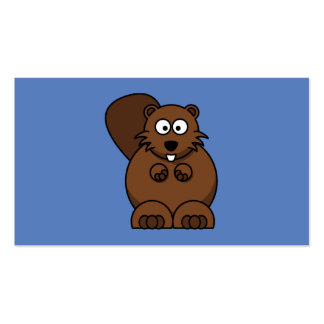 Cartoon Beaver with Blue Background Double-Sided Standard Business Cards (Pack Of 100)
