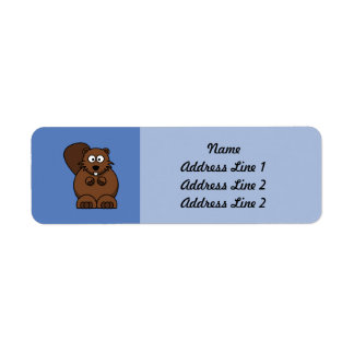 Cartoon Beaver with Blue Background Label