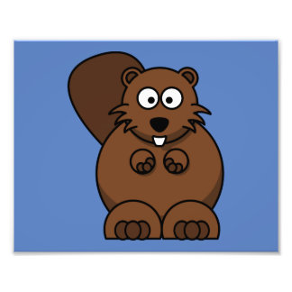 Cartoon Beaver with Blue Background Photograph