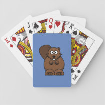 Cartoon Beaver with Blue Background Playing Cards