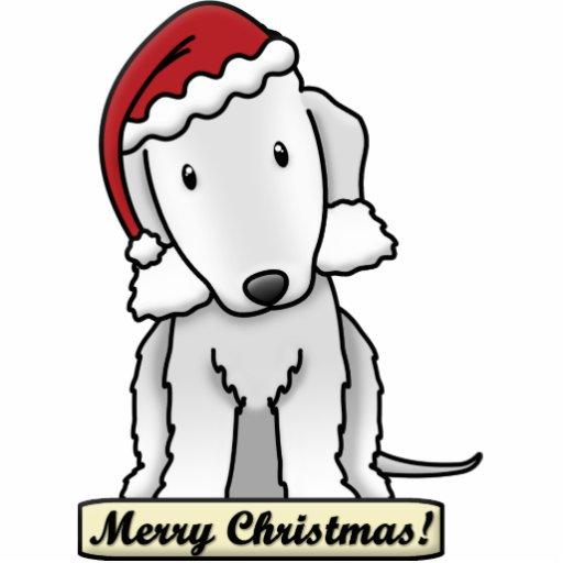 Cartoon Bedlington Terrier Christmas Ornament Photo Cutout