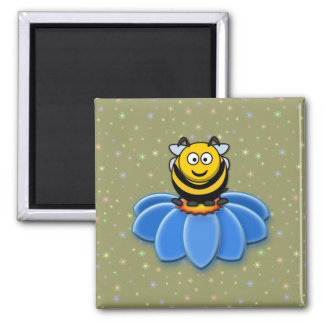 cartoon bee 2 inch square magnet