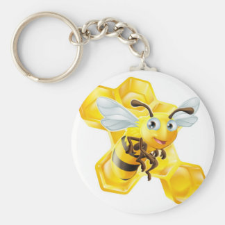Cartoon Bee and Honey Comb Keychains