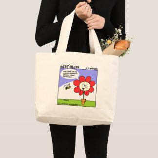 Cartoon Bee and Red Flower Gardener Cute Tote Bag