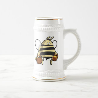 Cartoon Bee Carrying Honey Beer Stein