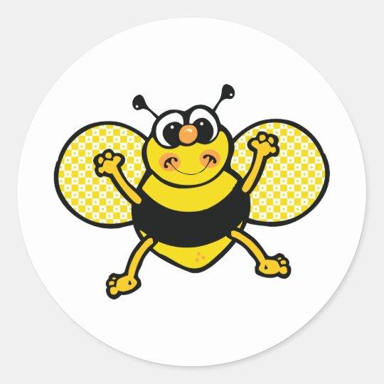 Cartoon Bee Classic Round Sticker