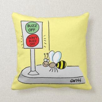 Cartoon Bee Crossing at Light Kids Nursery Throw Pillow