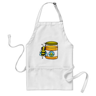 Cartoon bee leaning on honey jar adult apron