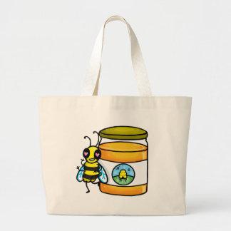 Cartoon bee leaning on honey jar canvas bags