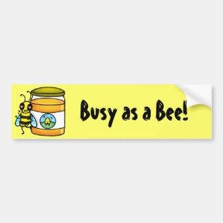 Cartoon bee leaning on honey jar bumper stickers