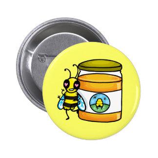 Cartoon bee leaning on honey jar button