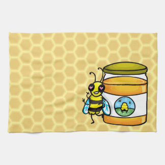 Cartoon bee leaning on honey jar hand towels