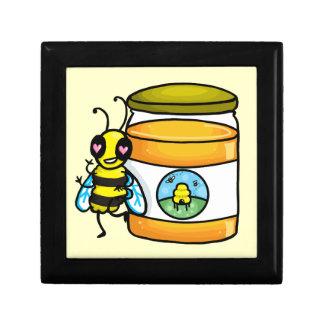 Cartoon bee leaning on honey jar jewelry box
